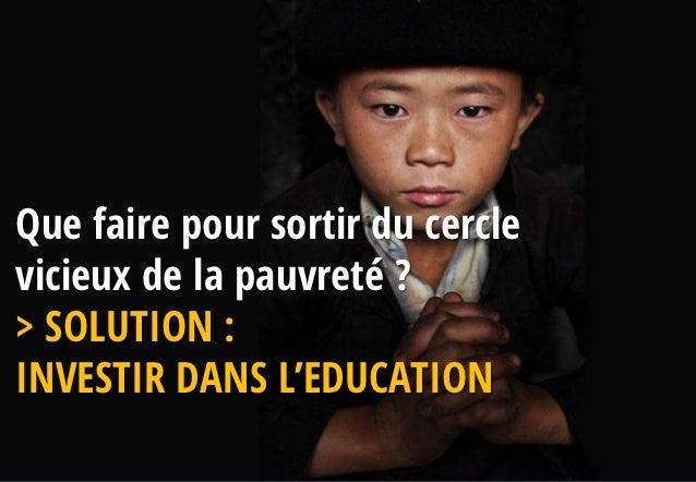 Que faire pour sortir du cerclevicieux de la pauvreté ?> SOLUTION :INVESTIR DANS L'EDUCATION