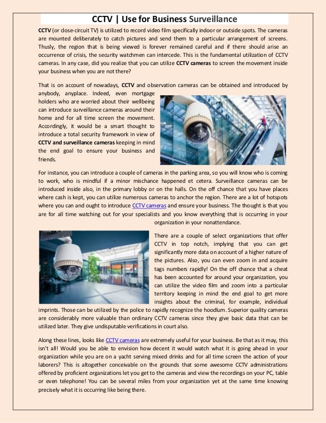 CCTV | Use for Business Surveillance