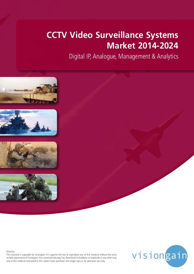 CCTV Video Surveillance Systems Market 2014-2024 Digital IP, Analogue, Management & Analytics ©notice This material is cop...