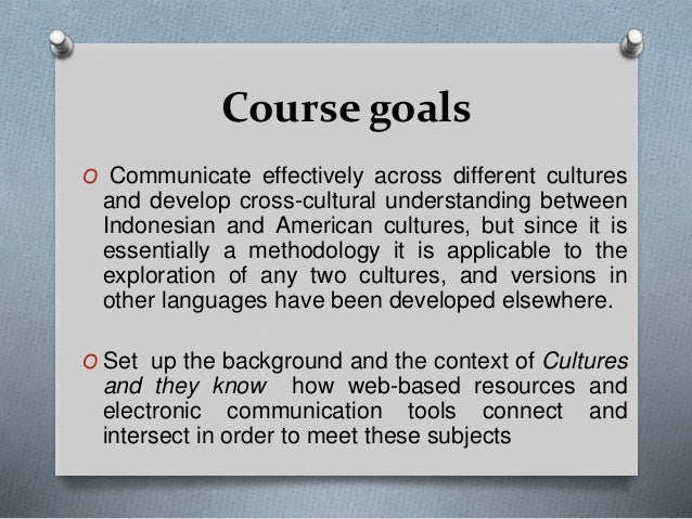 CROSS CULTURAL UNDERSTANDINGINTRODUCTION