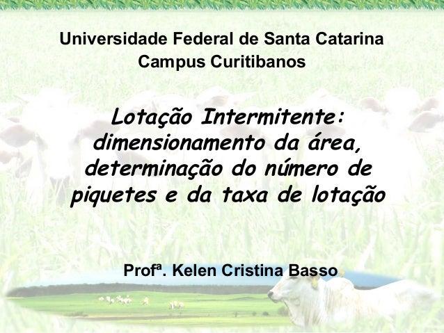 Universidade Federal de Santa Catarina  Campus Curitibanos  Lotação Intermitente:  dimensionamento da área,  determinação ...