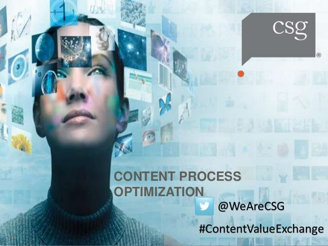 CONTENT PROCESS OPTIMIZATION 1 @WeAreCSG #ContentValueExchange
