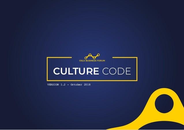 CULTURE CODE VERSION 1.2 - October 2018