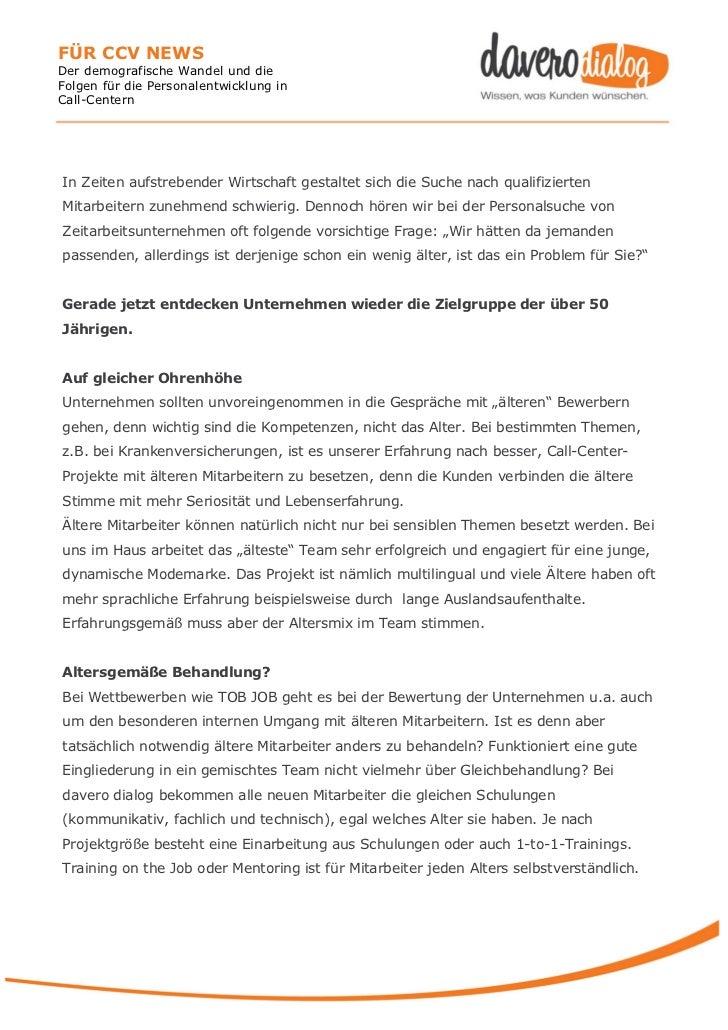 FÜR CCV NEWSDer demografische Wandel und dieFolgen für die Personalentwicklung inCall-CenternIn Zeiten aufstrebender Wirts...