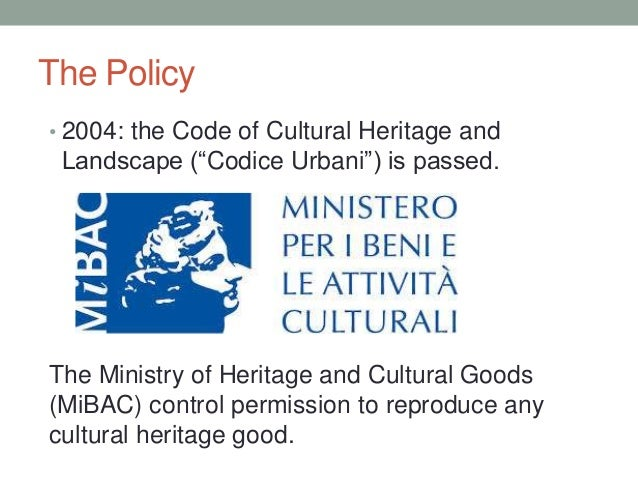 Italian Cultural Heritage Protection Laws- CC World Summit 2013 Slide 2
