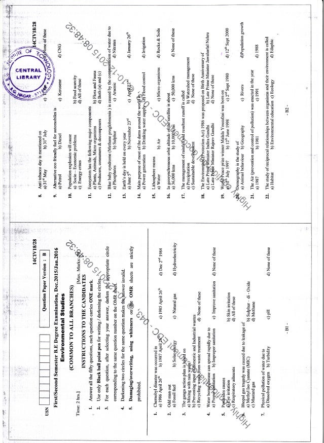 1st Semester Chemistry Cycle (Dec-2015; Jan-2016) Question