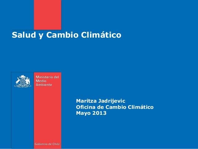 Salud y Cambio Climático Maritza Jadrijevic Oficina de Cambio Climático Mayo 2013