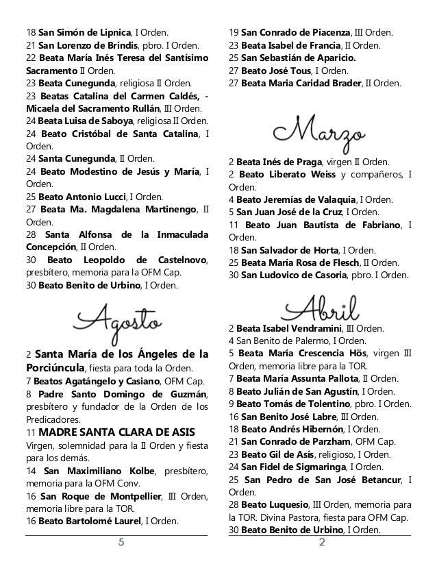Calendario Con Santos.Calendario Santos