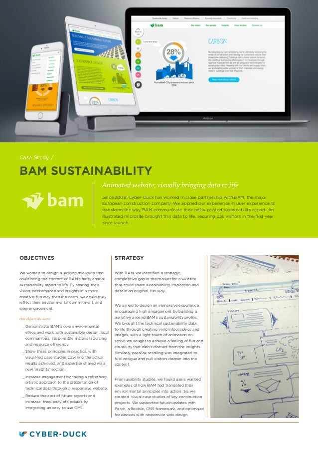 BAM SUSTAINABILITY Animated website, visually bringing data to life STRATEGY With BAM, we identified a strategic, competit...