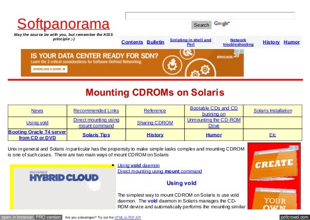 Cd rom mounting cdro-ms on solaris