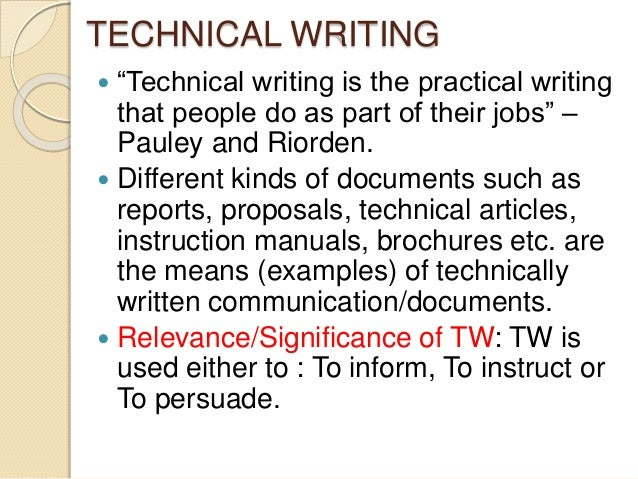 relevance of technical writing