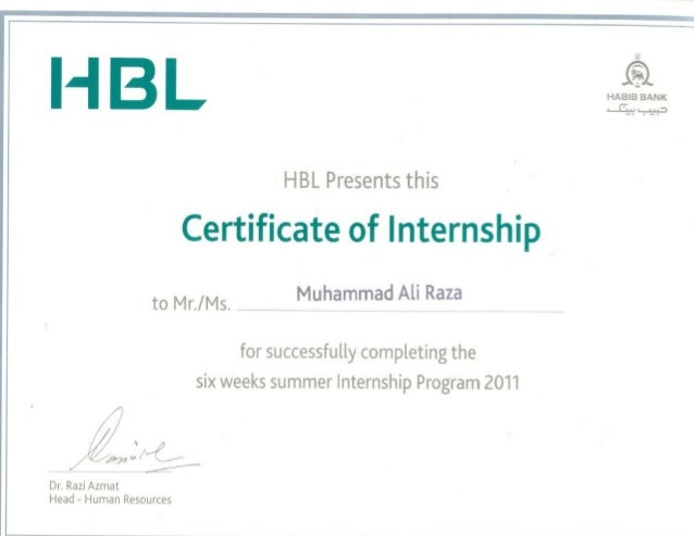 HBL Internship Certificate