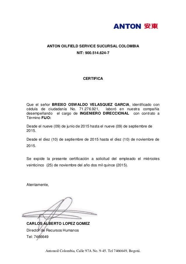Formato Certificacion Laboral Colombia Word