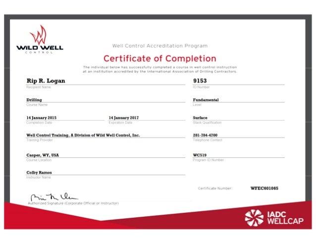 Wild Well Control Cert - Logan