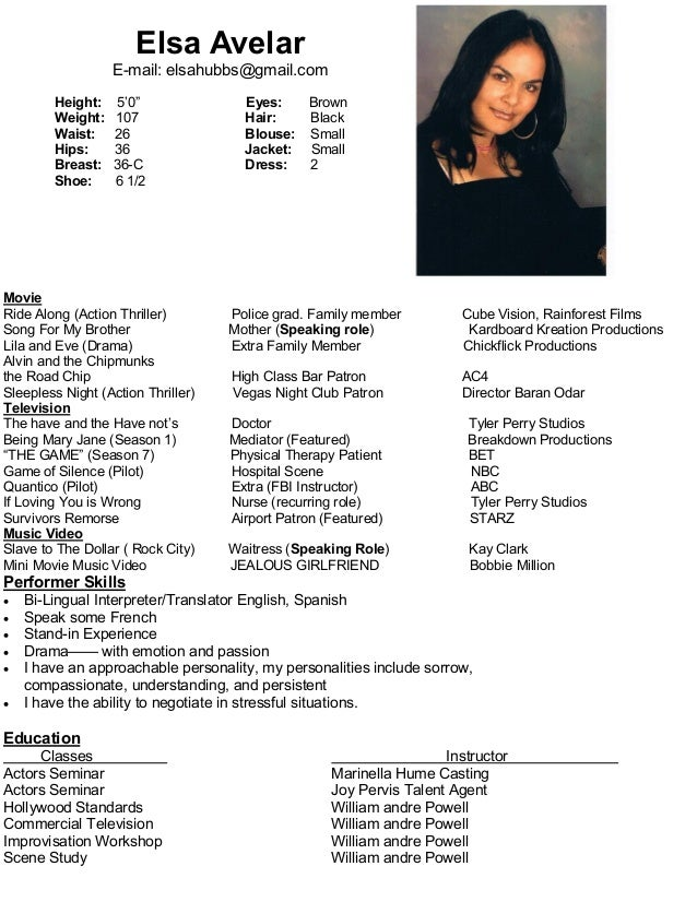 resume for actor