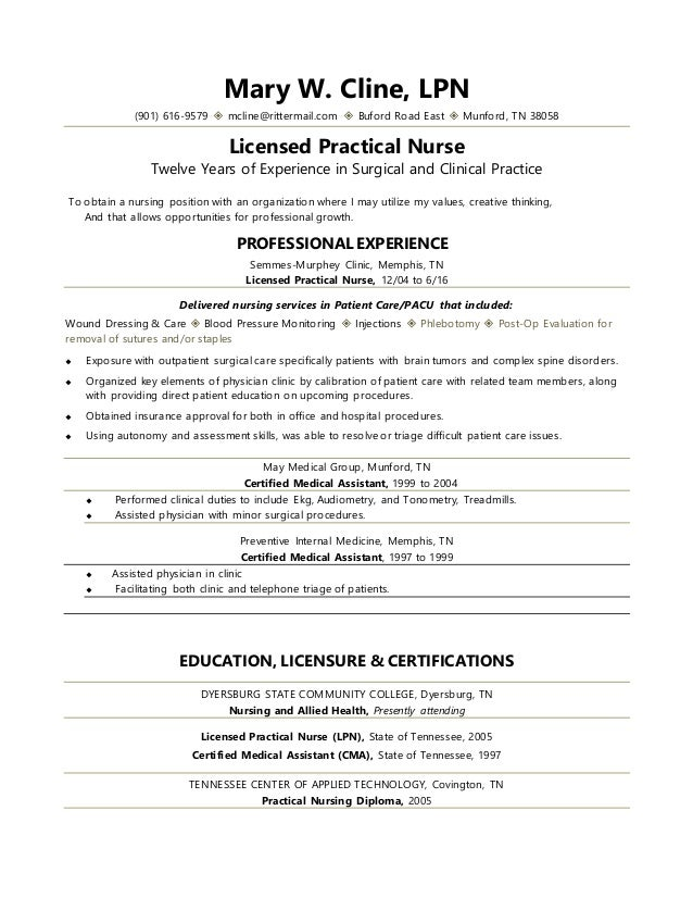mary cline,lpn resume (2016)