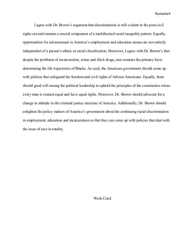from the civil rights to incarceration nation by doctor brown conclusion 4