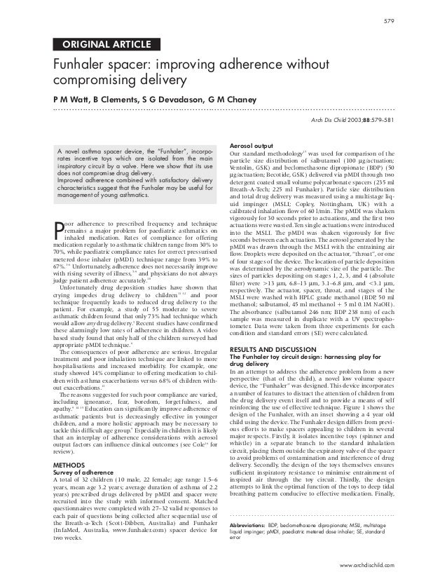 ORIGINAL ARTICLE Funhaler spacer: improving adherence without compromising delivery P M Watt, B Clements, S G Devadason, G...