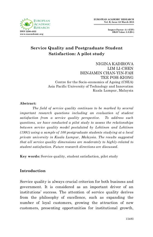 service quality and student satisfaction Abstract this paper reviews the research on service quality of higher education  and the successful experience of foreign student satisfaction measurement.