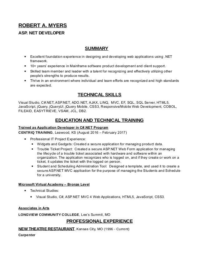 asp net developer resume sql developer resume 1 years