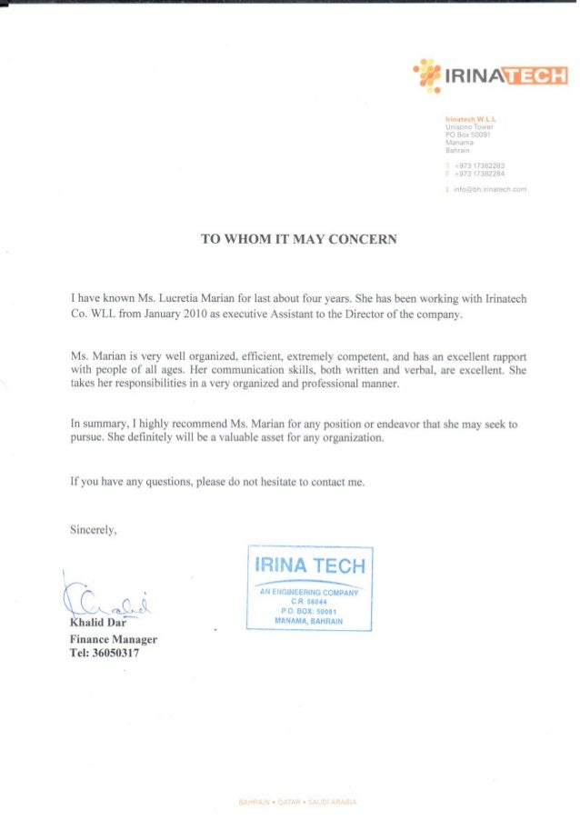 Finance Manager Khalid Dar Recomm Letter