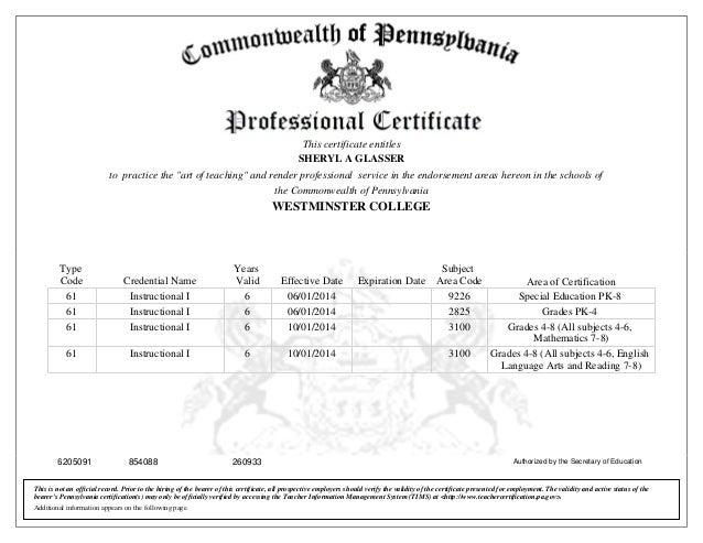 Teaching Certificate Glasser