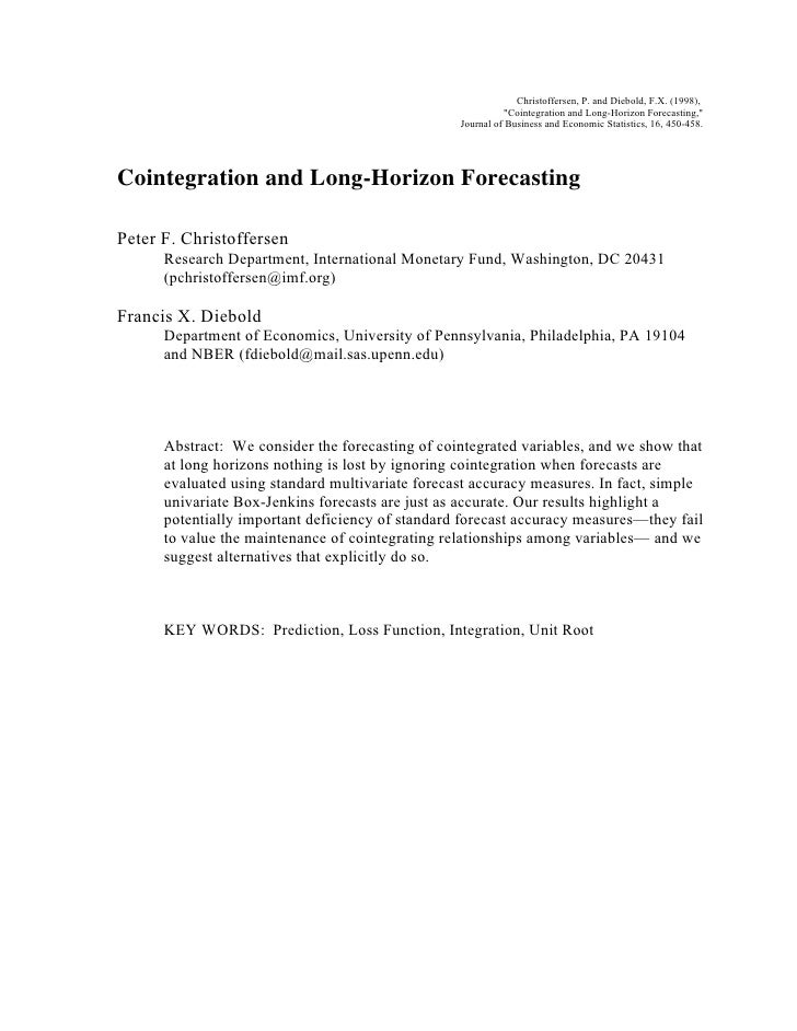"Christoffersen, P. and Diebold, F.X. (1998),                                                            ""Cointegration and..."