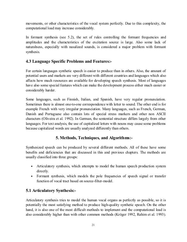 Articulatory synthesis advantages dissertation american studies