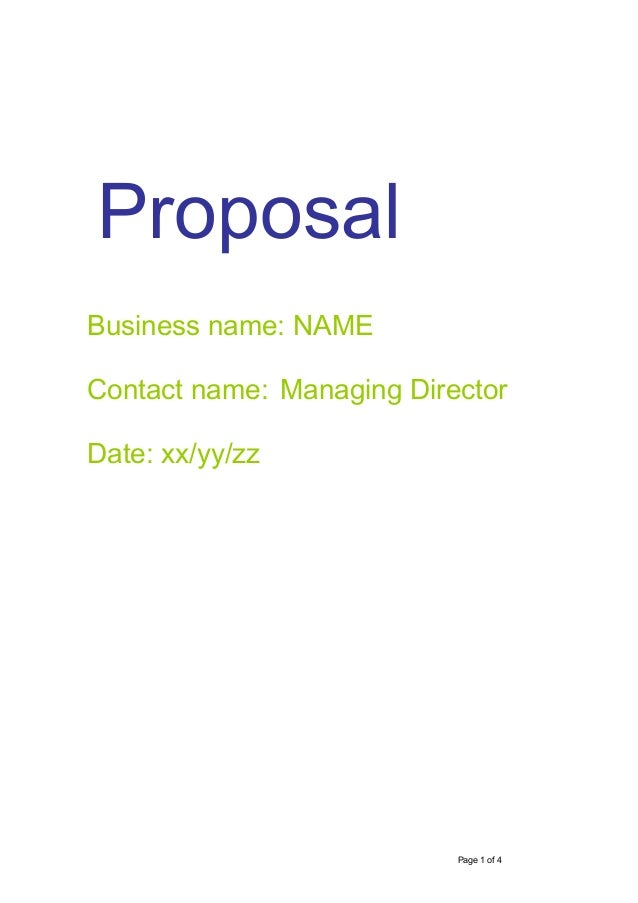 Strategic Diagnosis And Action Plan Example. Proposal Page 1 Of 4 Business  Name: NAME Contact Name: Managing Director Date: ...