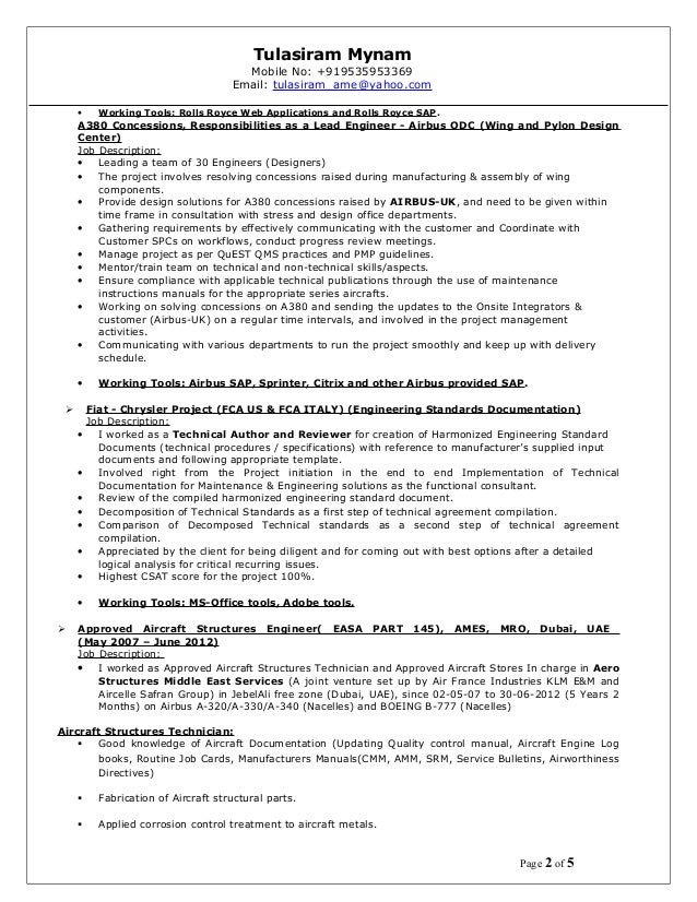 aircraft resume new 1 rh slideshare net Equipment Manuals for SV 185 Equipment Maintenance Manual