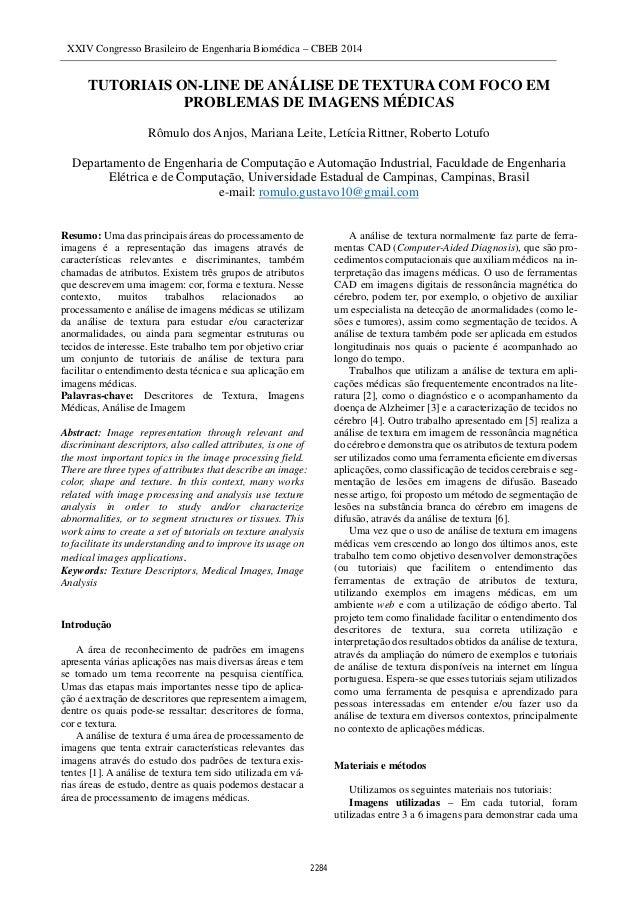 XXIV Congresso Brasileiro de Engenharia Biomédica – CBEB 2014 1 TUTORIAIS ON-LINE DE ANÁLISE DE TEXTURA COM FOCO EM PROBLE...