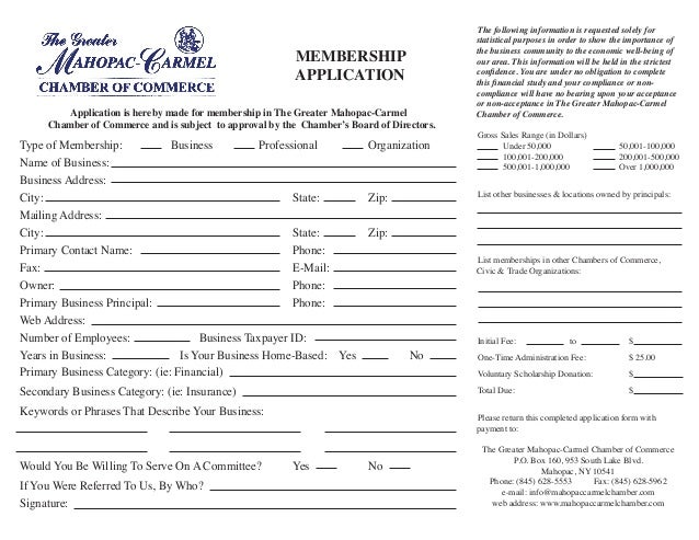mahopac carmel chamber of commerce membership application. Black Bedroom Furniture Sets. Home Design Ideas