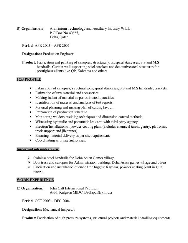 mechanical fabrication engineer resume
