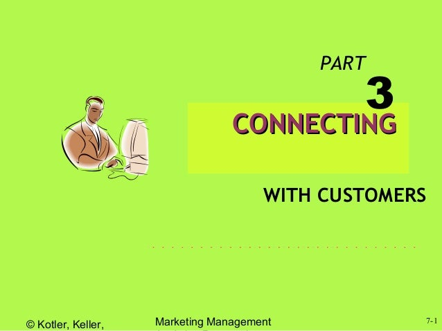 © Kotler, Keller, Marketing Management 7-1 CONNECTINGCONNECTING WITH CUSTOMERS PART 3