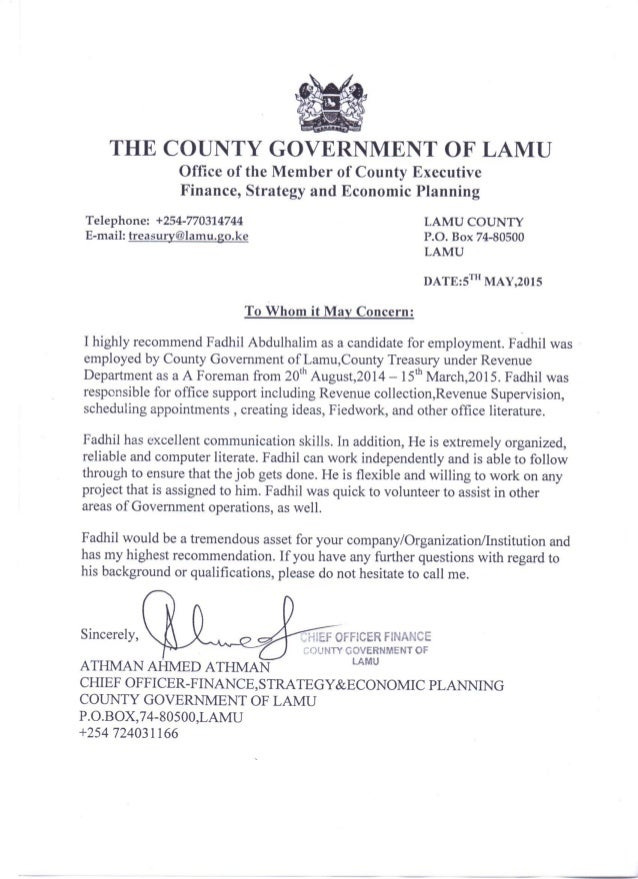 professional letter of recommendation county treasury recommendation letter 8963