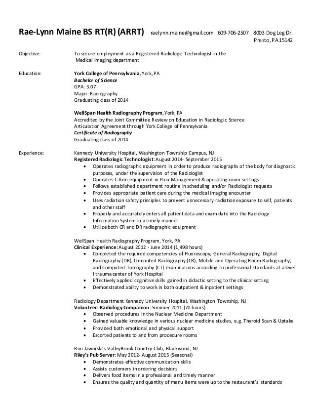 resume bachelor of science