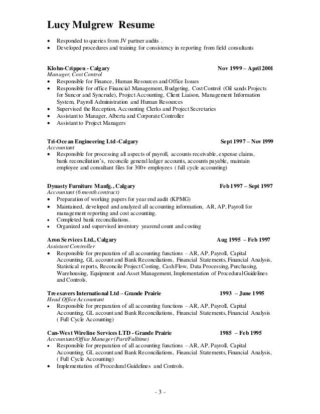 Resume for accounting clerks