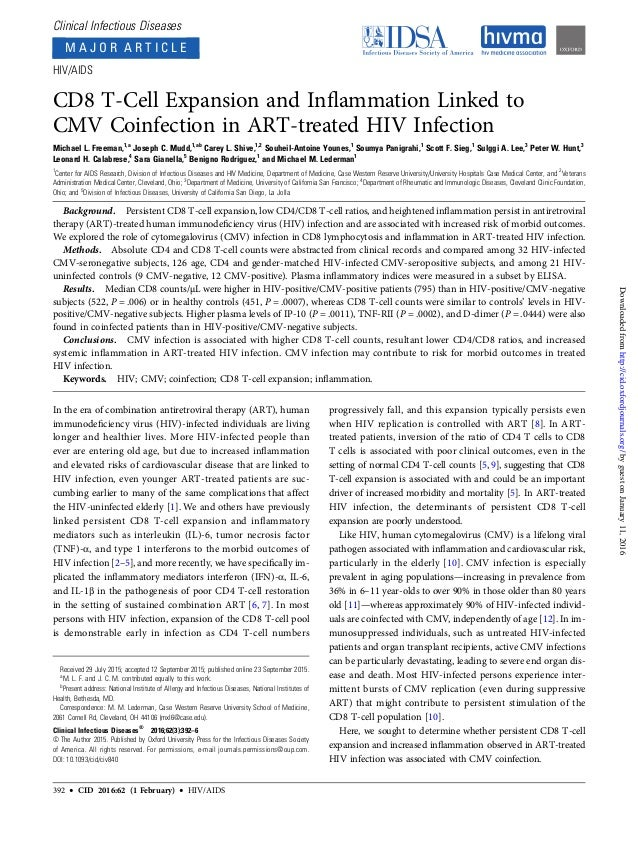 Clinical Infectious Diseases M A J O R A R T I C L E HIV/AIDS CD8 T-Cell Expansion and Inflammation Linked to CMV Coinfecti...