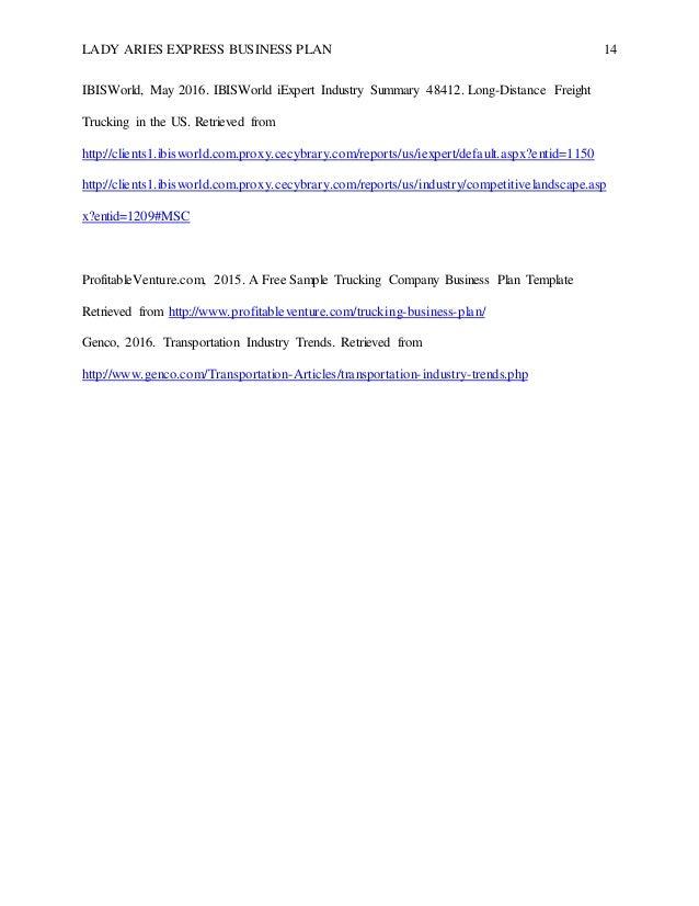 Yolvalda Jones Week IP Lady Aries Express Business Plan - Trucking business plan template free