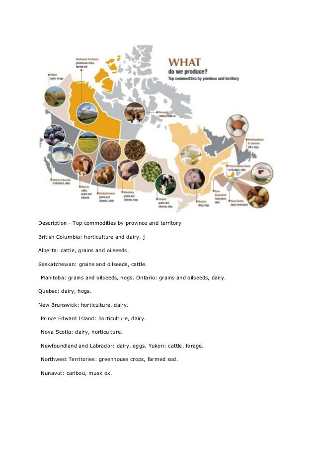 Description - Top commodities by province and territoryBritish Columbia: horticulture and dairy. ]Alberta: cattle, grains ...