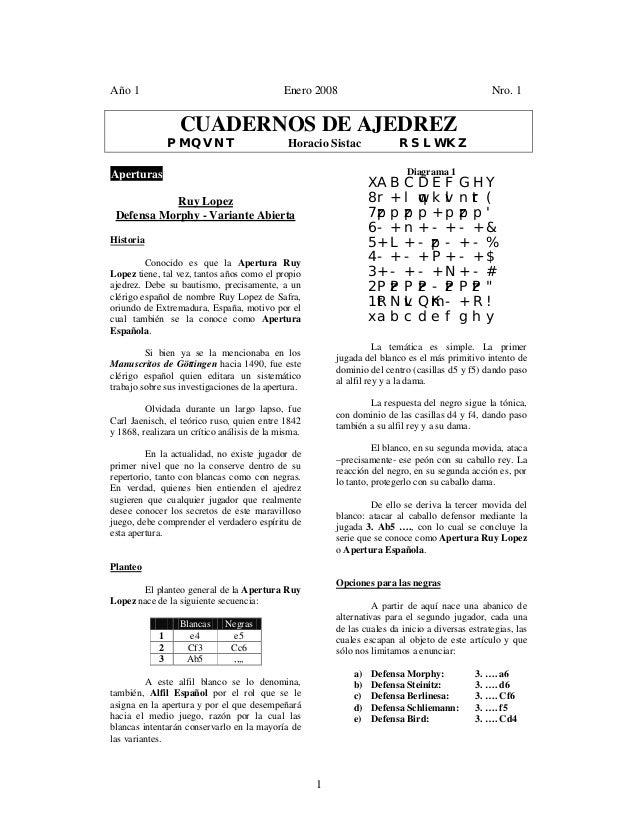 1 Año 1 Enero 2008 Nro. 1 CUADERNOS DE AJEDREZ PMQVNT Horacio Sistac RSLWKZ Aperturas Ruy Lopez Defensa Morphy - Variante ...