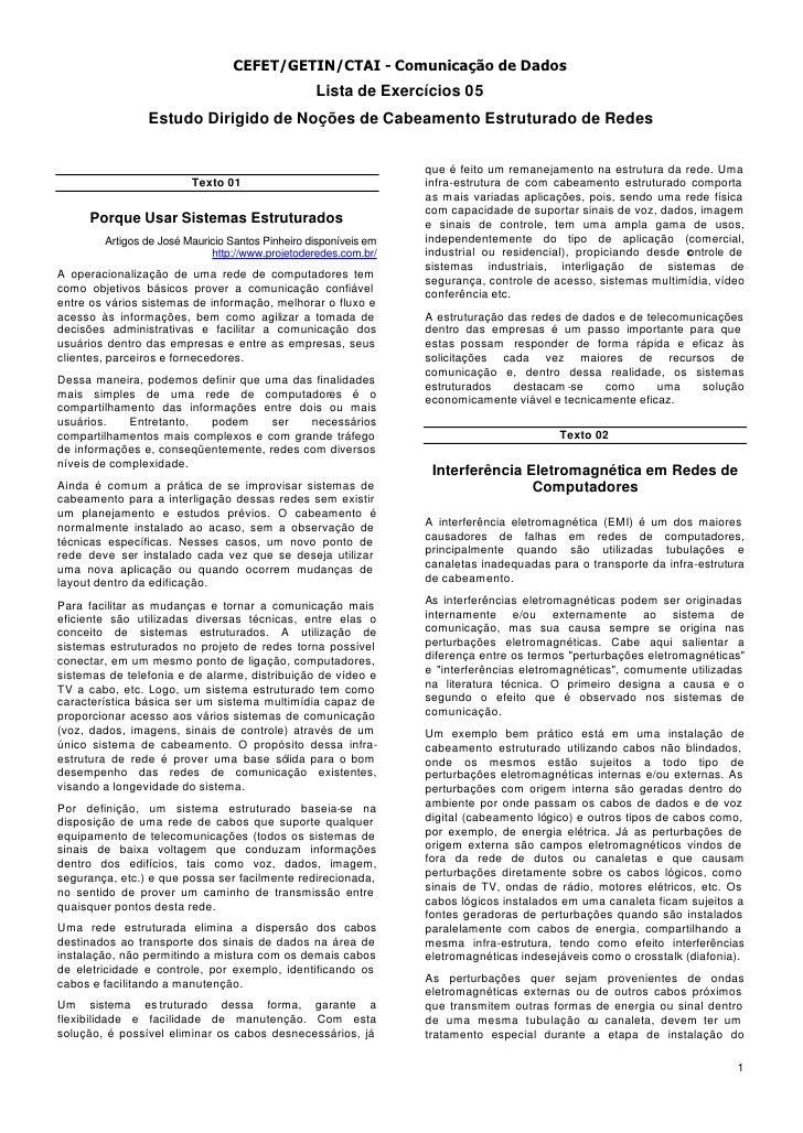 CEFET/GETIN/CTAI - Comunicação de Dados                                                   Lista de Exercícios 05          ...