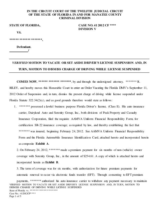 Verified Motion to Vacate or Set Aside Charge of Driving While Licens…