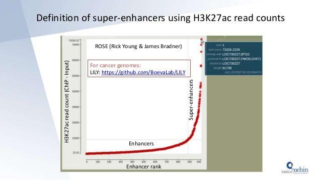 Definition of super-enhancers using H3K27ac read counts ROSE (Rick Young & James Bradner) Enhancer rank H3K27acreadcount(C...