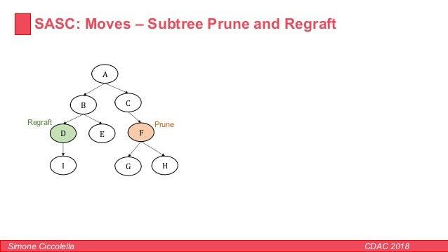 SASC: Moves – Subtree Prune and Regraft Simone Ciccolella CDAC 2018 A B C D E F G HI PruneRegraft
