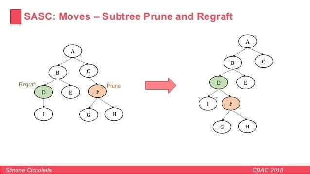 SASC: Moves – Subtree Prune and Regraft Simone Ciccolella CDAC 2018 A B C D E F G HI PruneRegraft A B C D E F G H I