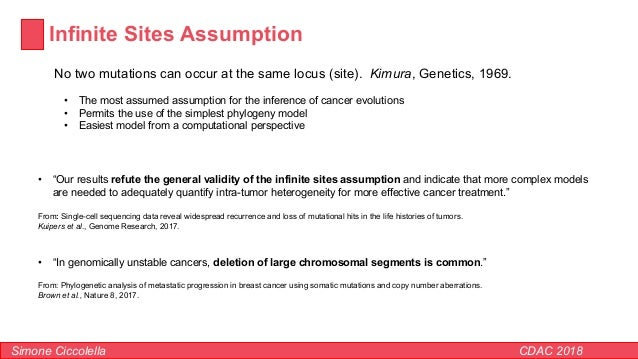 Infinite Sites Assumption Simone Ciccolella CDAC 2018 • The most assumed assumption for the inference of cancer evolutions...