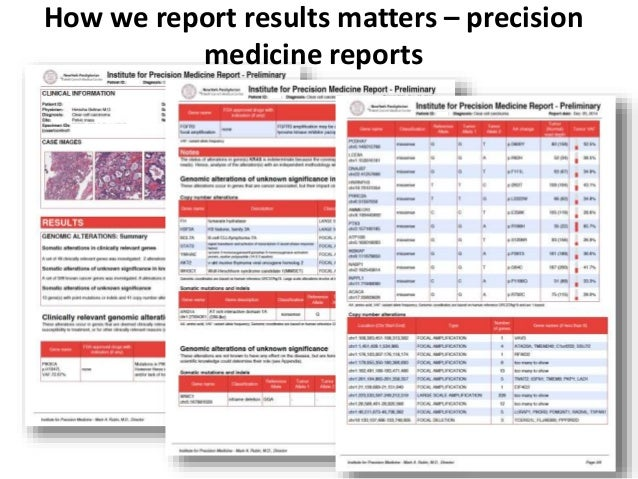 How we report results matters – precision medicine reports