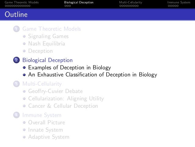 Game Theoretic Models Biological Deception Multi-Cellularity Immune System Outline 1 Game Theoretic Models Signaling Games...
