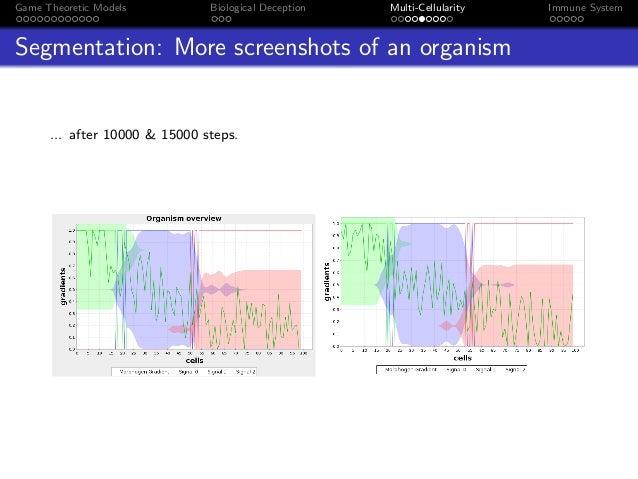 Game Theoretic Models Biological Deception Multi-Cellularity Immune System Segmentation: More screenshots of an organism ....